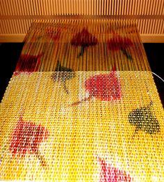 Shifu scarf with hand-dyed silk warp--on The Quad rigid heddle loom NOTE: nice example of warp painting Loom Yarn, Weaving Loom Diy, Weaving Art, Hand Weaving, Weaving Textiles, Weaving Patterns, Painted Warp, Weaving Projects, Weaving Techniques