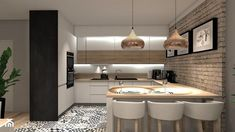 Modern kitchen with brick wall and hydraulic floor. Contemporary Kitchen, Kitchen Design, Kitchen Decor, Kitchen Room Design, Kitchen Room, Kitchen Interior, Kitchen Layout, Kitchen Furniture Design, Modern Kitchen Design
