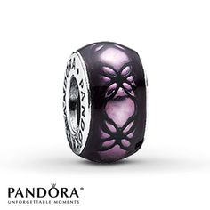 Pandora Floral Spacer Purple Enamel Sterling Silver ~ I want this Charm!