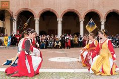 Dames Dance in Medieval Dress at the Palio in Ferrara, Italy.