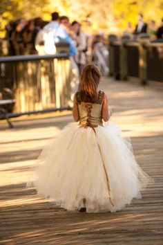 flower girl dress, Ivory with a hint of Gold and Champagne, Flower Girl Tutu Skirt. $255.00, via Etsy.