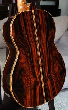 Highly figured and rare Cocobolo back and sides, Cedar top Concert Classical Guitar. November 27, 2012.