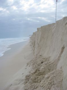 QUESTIONING: What questions come to mind when you see this image? List your questions in your reading journal.    This photo was taken along the shore in Cancun, Mexico.  The eroded sand wall, created by the pounding of the powerful waves, was over six feet high.  It was a popular place for beach combers to find huge conch shells peeking out of the wall.