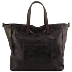 Annie - Shoppingveske / handlebag - Vintage look i skinn - Sort