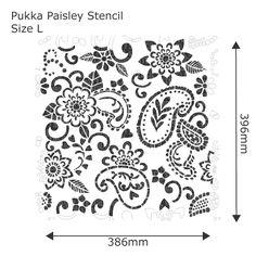 Pukka Paisley Stencil - Buy reusable wall stencils online at The Stencil Studio