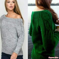 Зеленый пуловер, реглан снизу