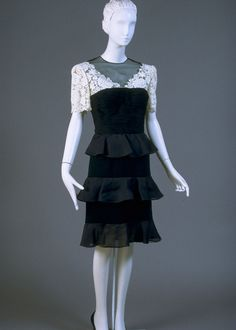 Spring 1989, Italy - Woman's Dress by Valentino - Black silk chiffon, white lace, pleated black silk chiffon, black silk crepe