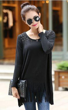 T shirt womens tassel shirt plus size women 4xl woman tops