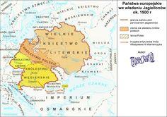 Carte des pays gouvernés par des Jagellons - v. 1500
