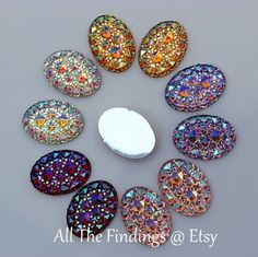 100 Piece Wholesale Lot Druzy-like Oval Flat Back Aurora Borealis Assorted Mix Cabochon Appliques Findings Jewelry Clothing Embellishments Supermarket, Crystal Resin, Beaded Earrings Patterns, Bottle Cap Images, Imitation Jewelry, Beading Supplies, Jewelry Findings, Stones And Crystals, Flower Designs