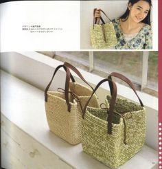 crochet bag/ cut grocery bags in a circle in place of yarn, handles from an old purse, foam core bottom for a sturdy carry all. LD Source by glenpazaroglu Crochet Diy, Crochet Tote, Crochet Handbags, Crochet Purses, Crochet Crafts, Crochet Baskets, Purse Patterns, Crochet Patterns, Knitting Patterns