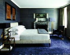 royal blue floors elevate this room to another level of luxe