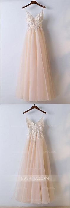 New Blush Pink V-Neck Spaghetti Straps Tulle Prom Dress Evening Dress With Lace #prom #spaghetti #evening #lace