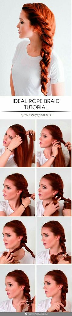 Impressive Rope Braid Hairstyle Rope braid is really multi-faceted and it looks special! See variations of impressive rope braid hairstyle.Rope braid is really multi-faceted and it looks special! See variations of impressive rope braid hairstyle. Braided Hairstyles Tutorials, Cool Hairstyles, Hairstyle Ideas, Summer Hairstyles, Wedding Hairstyles, Office Hairstyles, Latest Hairstyles, Hairstyles 2018, Wavy Hair Tutorials