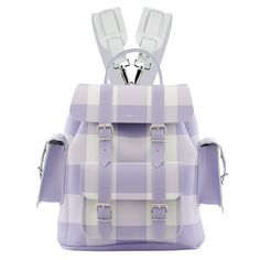 Colour: Lilac & White Gingham style LeatherTwo adjustable shoulder strapsOne Front PocketTwo Side PocketsMade in England Stylish Backpacks, Cute Backpacks, Girl Backpacks, Grafea Backpack, Mesh Backpack, White Leather Backpack, Leather Briefcase, Leather Backpacks, Stylish School Bags