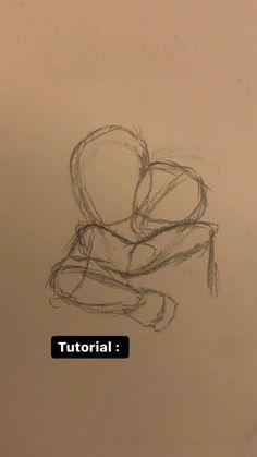 Art Drawings Sketches Simple, Pencil Art Drawings, Easy Simple Drawings, Cute Couple Drawings, Pretty Drawings, Love Drawings, Art Tutorials, Anime Drawing Tutorials, Art Inspiration Drawing