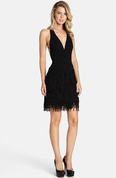 Dress the Population 'Stella' Fringe Crepe Fit & Flare Dress