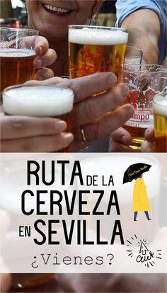 La forma más sencilla de refrescarse en Sevilla, es pararse a tomarse una cerveza. La cerveza aquí es practicamente cultura!!. La forma de servirla, su temperatura, esa espumita de arriba, sus finas burbujas...vas a beberte una y al final repites!!. Sevilla y la cerveza están muy unidas, para degustar esta rica bebida y que participes como uno más de los grandes templos cerveceros de Sevilla, te proponemos en tu visita a la capital andaluza una ruta muy de aquí. Tableware, Glass, Temples, Shape, Ale, Drink, Bubbles, Paths, Sevilla