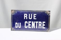French Blue Enamel Street Sign. Rue du Centre by LePasseRecompose
