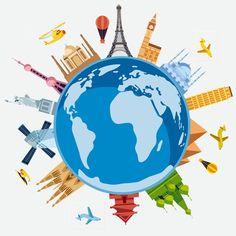 การท่องเที่ยวพื้นหลังของ Cartoon Earth, Cartoon, Earth, PNG ของเครื่องบินและ PSD