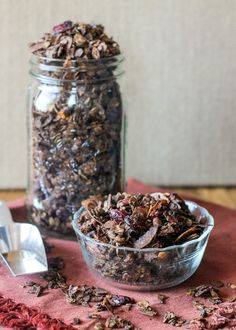 This Chunky Chocolate Cranberry Pecan Granola uses a secret ingredient to keep in chunky, and is the perfect guilt-free DIY holiday gift!