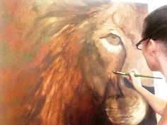 When working with #acrylics, you have to work fast and that's the way I #love to #work. Right now, I have the base down and I have a lot of detail ahead of me. I did not draw in my lion, I have painted lions since I was a child and I can #draw them from the back of my hand. I find #sketching it in limits you. My #imagination expands much further with just a #brush & the #canvas. No more sneak peeks that's it for now :-). For real this time.