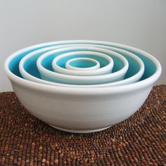 Ceramic Nesting Bowls in Turquoise Blue Large Set by KarinLorenc