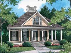 Eplans Cottage House Plan - Welcoming Guest Cottage - 848 Square Feet and 1 Bedroom from Eplans - House Plan Code HWEPL14321