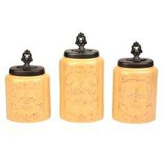 Antique Cream Fleur-de-lis Canisters, Set of 3 | Kirklands