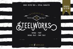 #Woodtype #Font Steelworks + Bonus (20%OFF) by Burntilldead on @creativemarket