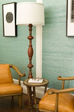 Bedroom with Teal Grasscloth Wallpaper | Veranda Showcase House | Elizabeth Dinkel Design Associates, Inc.