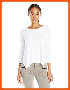 VELVET BY GRAHAM & SPENCER Women's Thermal Knit 3/4 Sleeve Top, White, X-Large - All about women (*Amazon Partner-Link)