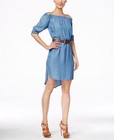 OMG get in my Closet Now!!!!MICHAEL Michael Kors Off-The-Shoulder High-Low Denim Dress #michaelkors #offtheshoulder #dress