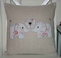 Laura Ashley Natural Austin Cushion Cover with Cath Kidston Elephant Applique in Home, Furniture & DIY, Home Decor, Cushions Applique Cushions, Cute Cushions, Sewing Pillows, Diy Pillows, Decorative Pillows, Large Pillows, Quilt Baby, Sewing Appliques, Applique Patterns