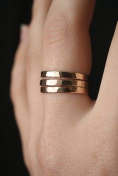 Extra Thick Gold Stack rings, Set of 3 Gold Stack rings, stackable rings, extra thick gold ring, hammered gold ring, thick gold band by hannahnaomi on Etsy https://www.etsy.com/listing/228459136/extra-thick-gold-stack-rings-set-of-3