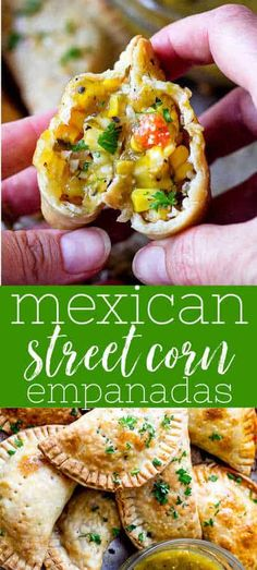 Corn Empanadas are flaky hand pie filled with elotes or Mexican street corn and cooked in the air fryer until golden brown!Street Corn Empanadas are flaky hand pie filled with elotes or Mexican street corn and cooked in the air fryer until golden brown! Mexican Street Corn Salad, Mexican Street Food, Tostadas, Tacos, Enchilada Lasagne, Comida Boricua, Vegetarian Recipes, Cooking Recipes, Vegetarian Mexican Appetizers