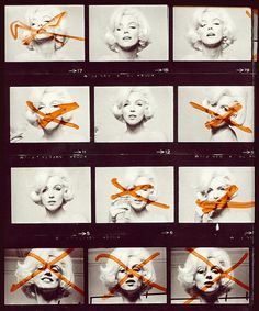 Marilyn Monroe - During her legendary final photo shoot with Bert Stern - The Last Sitting - Monroe crossed out the negatives that she didn't want published with a marker.