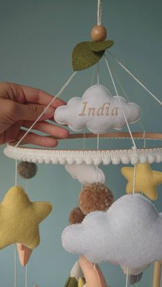 Handmade felt baby mobile with lambs, mountains, moon and stars. ▪️▪️▪️ Cute lambs are twirling joyfully among the green meadows and mountains. This mobile will become your baby's first exciting journey! ▪️▪️▪️ The mobile listing) includes: ✔️
