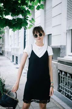 POLIENNE | wearing ZARA slip dress, H&M white tee, COACH bag & CONVERSE sneakers