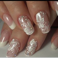 "68 Likes, 4 Comments - Cheryl (@grammycheryls12) on Instagram: ""OMG This would be Beautiful for my granddaughters wedding day.! 💖💅🏼🎀 #nails #nailswag #nailart…"""