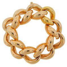 1940's Cartier Yellow Gold Heavy Link Chunky Bracelet | From a unique collection of vintage link bracelets at http://www.1stdibs.com/jewelry/bracelets/link-bracelets/