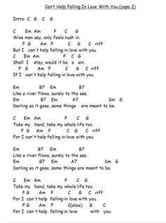 Can't Help Falling In Love With You w/ Guitar chords chart and lyrics Capo 2nd fret #learningguitar