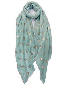 A Bee Print Scarf to add a bit of a buzz to your wardrobe. Navy Gold, Grey And Gold, Mint Green, Bee, Lovers, Pretty, Gifts, Color, Fashion