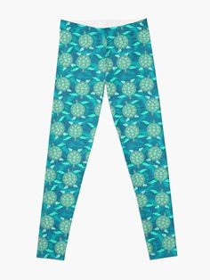 TYE AND DYE TURTLE 368 Leggings Designed and sold by sana90 Pastels, Turtle, Women's Fashion, Leggings, Turquoise, Abstract, Inspiration, Things To Sell, Design