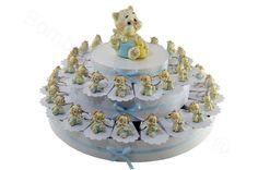 Torta bomboniera 38 fette con portachiavi gattino cagnolino  celeste in resina decorata (JT) #torta #bomboniere #nascita #battesimo #bomboniera