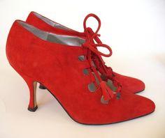 Red Suede TieUp Spanish Vintage Booties by VintageShouting on Etsy