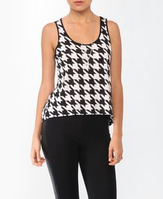 I have a black pencil skirt that will go well with this!! Cutout Houndstooth Print Tank | FOREVER21