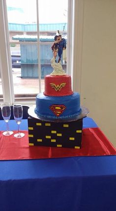 Superhero Twins Boy And Girl Matching Cake Superman And