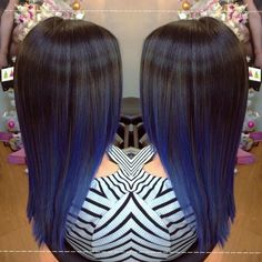 An amazing black to blue balayage created by Cordeliah!