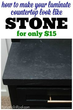 Not only is it cheap, but this countertop makeover is EASY! How to make your laminate countertops look like stone Painting Countertops, Diy Countertops, Spray Paint Countertops, Countertop Makeover, Kitchen Countertop Redo, Soapstone Kitchen, Painting Kitchen Counters, Kitchen Laminate, Cabinet Makeover